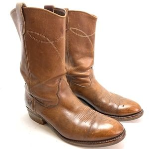 DOUBLE H HH Brown Leather Cowboy Boots Western 11
